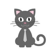 Cute Kitten Gray Sitting With Tie