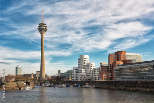 Dusseldorf cityscape with view on media harbor, Germany Canvas Print