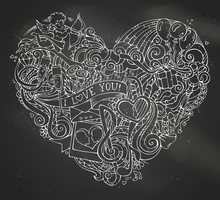 Chalk Hand-drawn Doodles Heart...