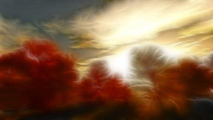 Fototapeta Wieloczęściowe Impressionist autumn scene