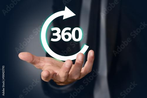 Poster  mano, 360, freccia, globale, completo