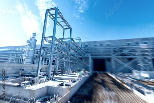 Obraz na plátně Pipe rack, building construction site