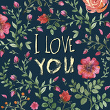 I love you Watercolor floral bouquet.  - 100422320