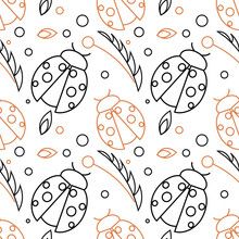Seamless Vector Pattern With Insects, Chaotic Background With Black And Red Ladybugs And Leaves On The White Backdrop.