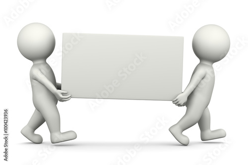 White 3D Characters Carrying a Blank Bill