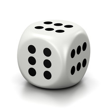 All Six Numbered Faces White Dice