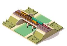 Vector Isometric Train Bridge