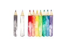 虹色鉛筆、黒と白