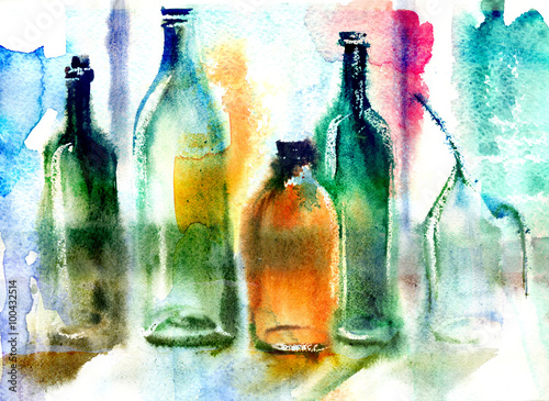 obraz lub plakat Still life of various bottles