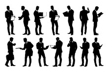 Set Of Detailed Businessman In Suit Silhouettes Using Holding Various Business Objects. Easy Editable Layered Vector Illustration