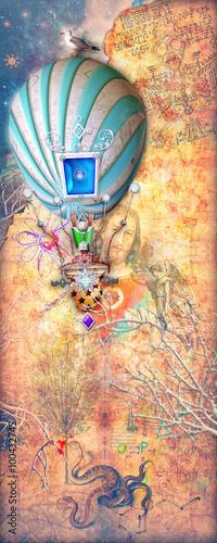 Aluminium Prints Imagination Steampunk montgolfier in the golden starry background