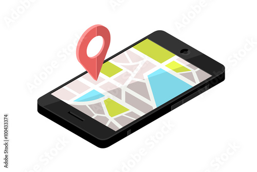 Isometric Smart Phone Locator - City Map. vector illustration of a on
