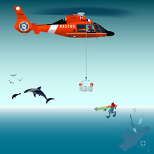 Red Rescue Helicopter And Fish...