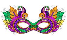 Vector Ornate Colored Mardi Gras Carnival Mask With Decorative F