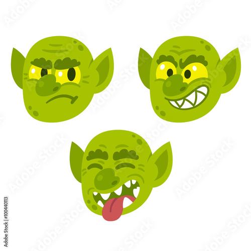 Funny cartoon goblin faces Wallpaper Mural