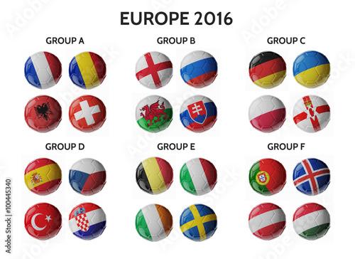 Set of Europe soccer balls Wallpaper Mural