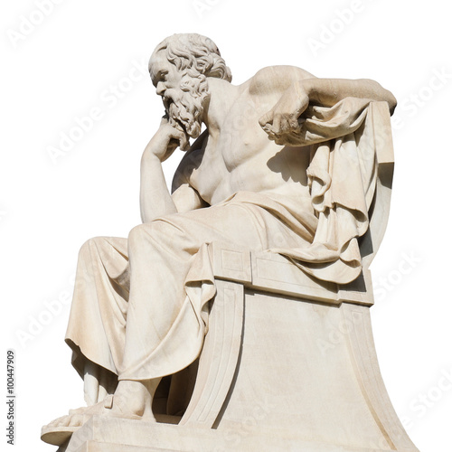 Socrates Statue at the Academy of Athens Isolated on White