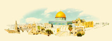 Vector Watercolor JERUSALEM Ci...