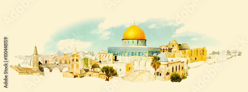 Photo  vector watercolor JERUSALEM city illustration