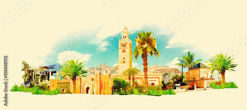 Photo  vector watercolor MARRAKESH city illustration