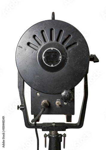 Fotografie, Obraz  Back view of a retro spotlight fixture used in film and theater productions isol