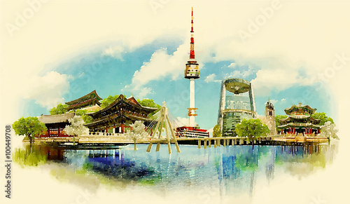 Photo  vector watercolor SEOUL city illustration