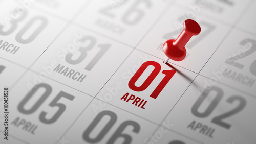 April 01 written on a calendar to remind you an important appoin Canvas Print