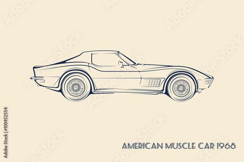 Fotografia  American muscle car silhouette 60s