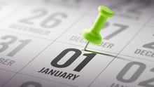 January 01 Written On A Calendar To Remind You An Important Appo