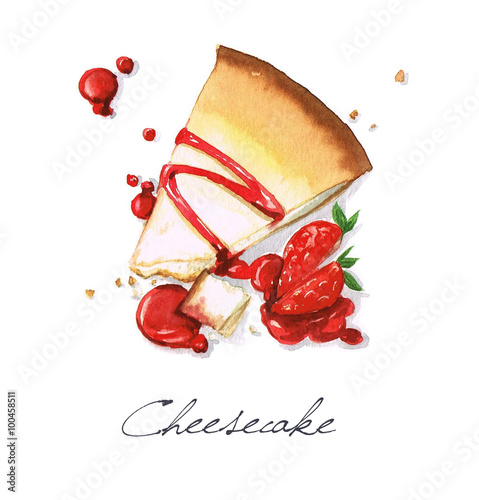 Acrylic Prints Watercolor Illustrations Watercolor Food Painting - Cheesecake