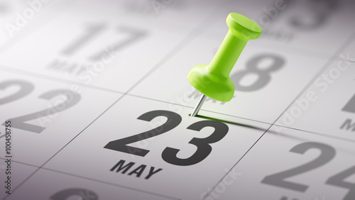 Fotografia  May 23 written on a calendar to remind you an important appointm