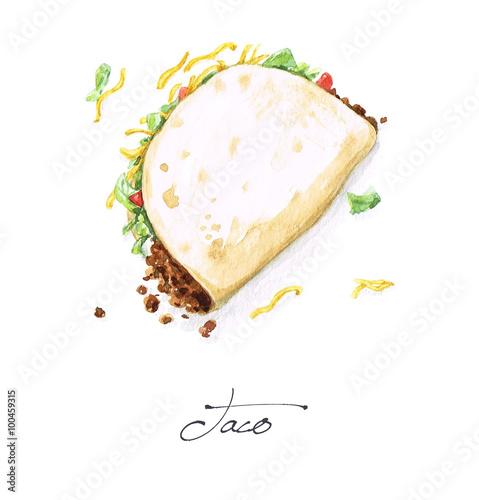 Fotografie, Obraz  Watercolor Food Painting - Taco
