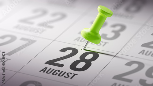 Tela  August 28 written on a calendar to remind you an important appoi