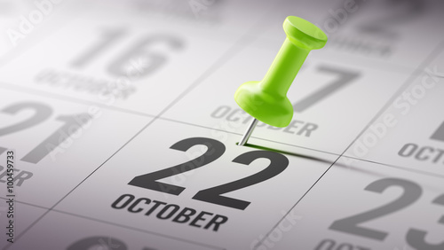 Fotografia  October 22 written on a calendar to remind you an important appo