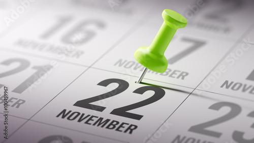Papel de parede  November 22 written on a calendar to remind you an important app