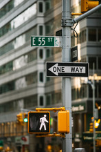 Traffic Light And Signage In New York