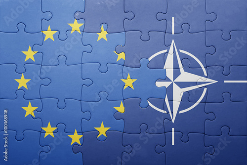 Photo  puzzle with the national flag of european union and nato