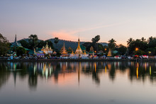 Reflection Of Wat Chong Kham In The Lake After Sunset