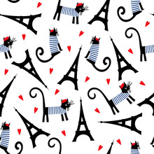 Paris Symbols Seamless Pattern. Cute Cartoon Parisian Cat And Tour Eiffel Vector Illustration. Romantic Travel In Paris. French Style Dressed Cat With Red Beret And Striped Frock.