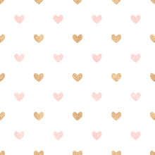 Gold And Pink Hearts On A White Backdrop. Cute Seamless Backgrou