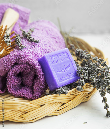 Fotografie, Obraz  Spa products with towels,lavender soap