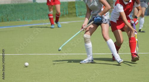 Fotografiet  Women field hockey players with ball