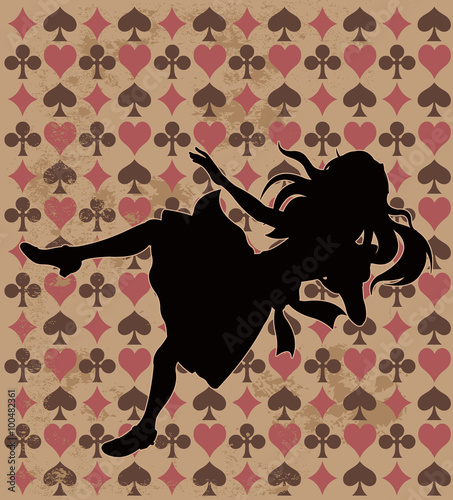 Printed kitchen splashbacks Fairytale World Falling Alice Silhouette