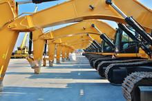 Caterpillars, Yellow Heavy Construction Work Vehicles, Parking