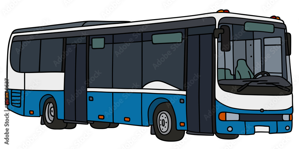 Blue And White City Bus Hand Drawing Vector Illustration Foto