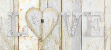 Love Text With Heart Shape On Wood Planks Grunge Texture Backgro