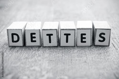 concept mot formé avec des lettres en bois - Dettes Wallpaper Mural