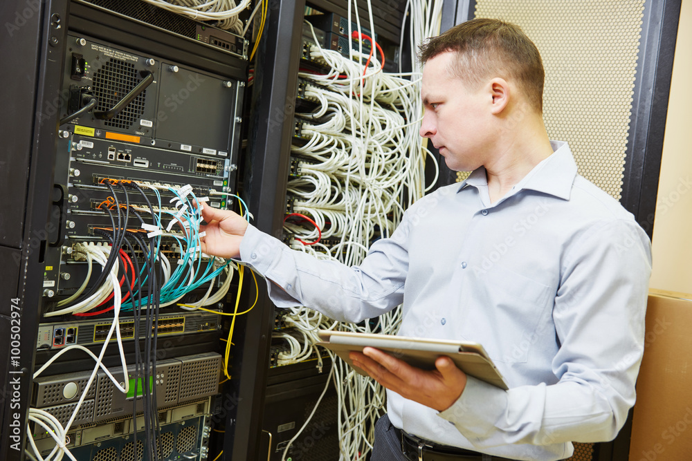 Fototapeta network engineer admin at data center