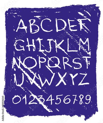 Papiers peints Affiche vintage Handwritten English alphabets and digits