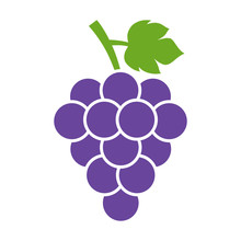Bunch Of Wine Grapes With Leaf Flat Color Icon For Food Apps And Websites